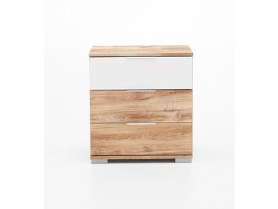 Chevet 3 tiroirs Virgo chene poutre/blanc