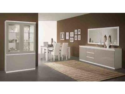 Vitrine 2 portes avec leds Roma laqué bicolore blanc/gris