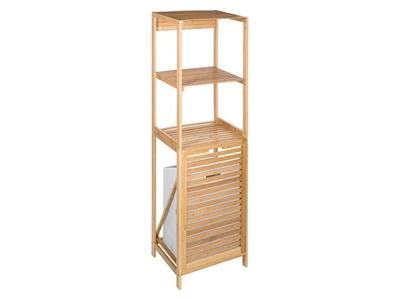 Etagere 2 niveaux bambou+panier a linge Bambou