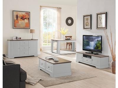 Meuble tv Dessy blanc/chene