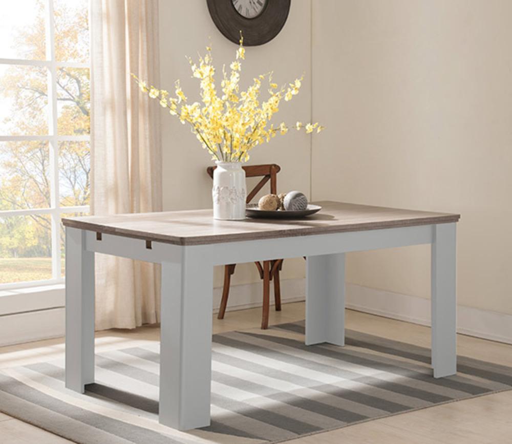 Table Extensible Chene: Table De Repas Extensible Dessy Blanc/chene