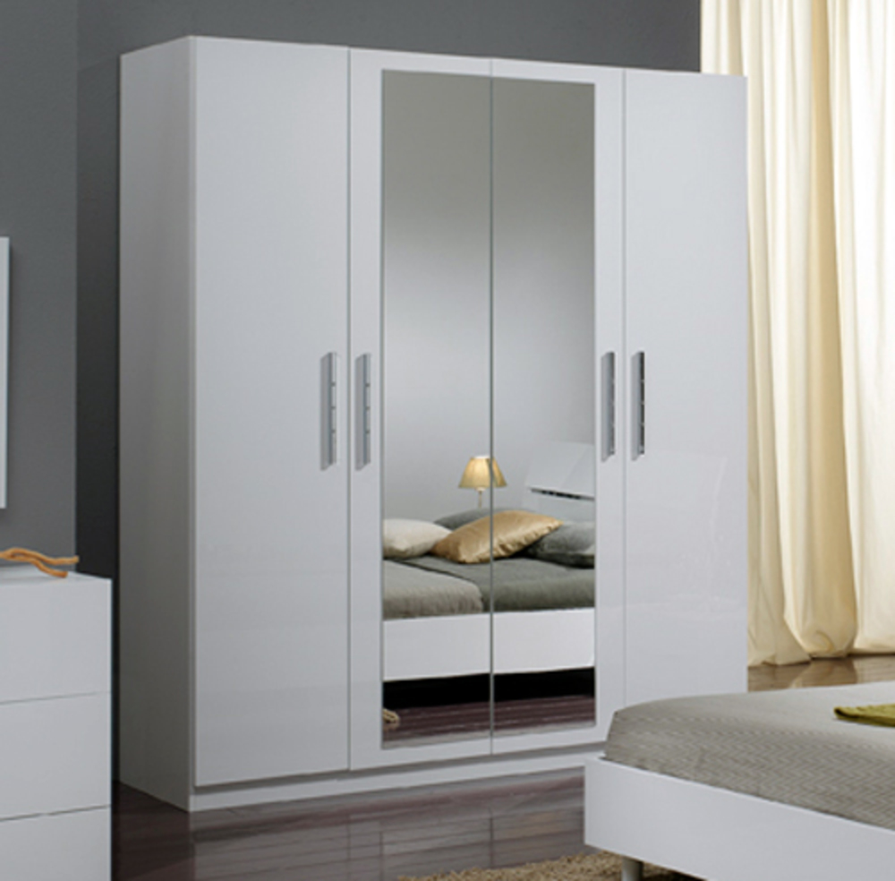 armoire 4 portes carol blanc laqu e. Black Bedroom Furniture Sets. Home Design Ideas