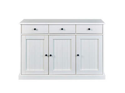 Bahut 3 portes 3 tiroirs Westerland blanc
