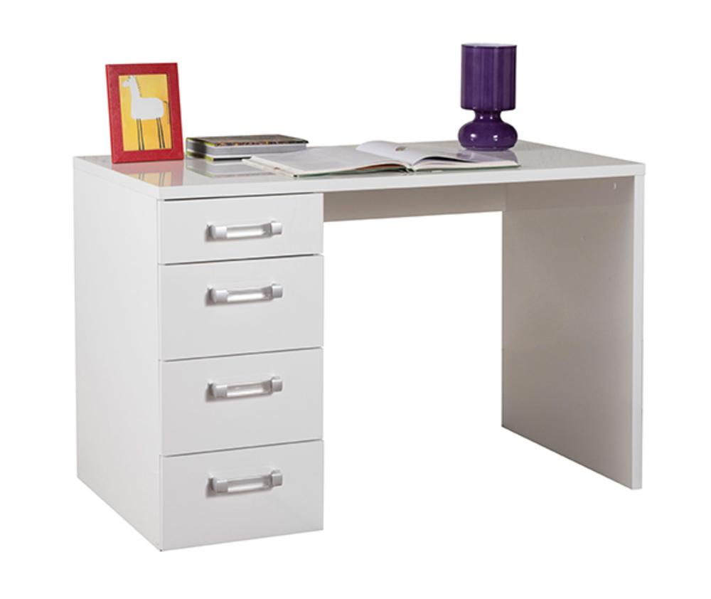 bureau calisma laqu blanc blanc brillant. Black Bedroom Furniture Sets. Home Design Ideas