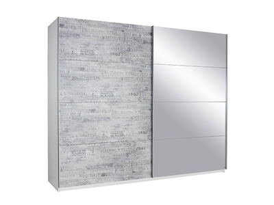Armoire 2 portes miroir/gris vintage