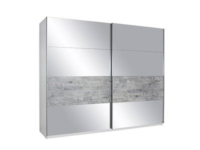 Armoire 2 portes gris vintage/miroir