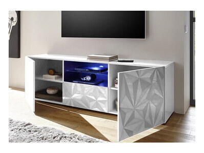 Meuble tv Prisme blanc brillant