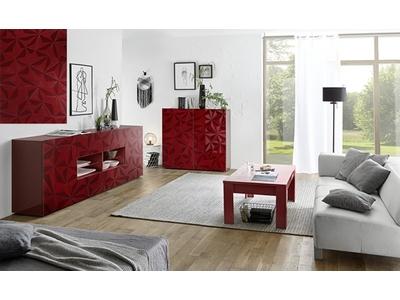 Bahut 2 portes 2 tiroirs Prisme rouge brillant