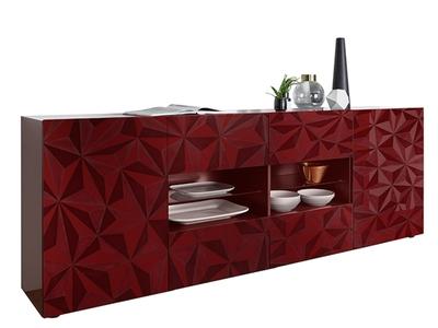 Bahut 2 portes 4 tiroirs Prisme rouge brillant