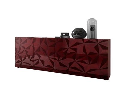 Bahut 4 portes Prisme rouge brillant