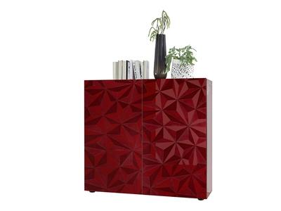 Meuble de rangement 2 portes Prisme rouge brillant
