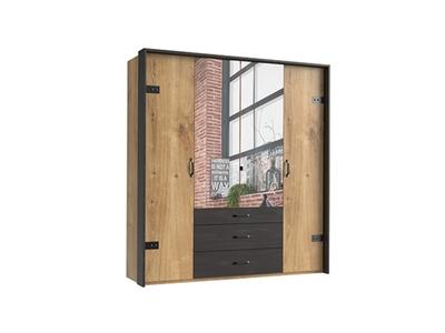 Armoire 4 portes dont 2 miroirs+3 tiroirs Détroit