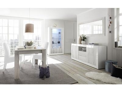 Bahut 2 portes 2 tiroirs Ferrara blanc brillant/pin blanc