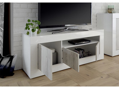 Meuble tv 3 portes Ferrara blanc brillant/pin blanc