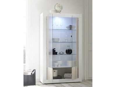 Vitrine 2 portes vitrées Ferrara blanc brillant/pin blanc