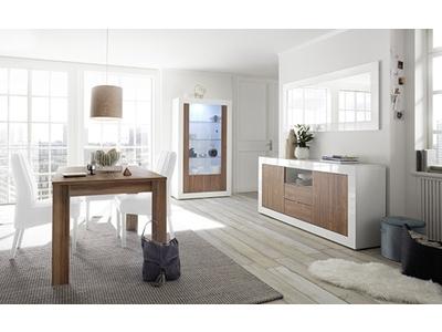 Bahut 2 portes 2 tiroirs Ferrara blanc brillant/noyer