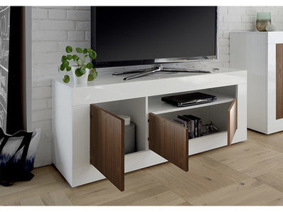 Meuble tv 3 portes Ferrara blanc brillant/noyer