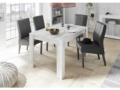 Table de repas Ferrara blanc brillant/pin blanc