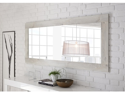 Miroir Ferrara blanc brillant/pin blanc