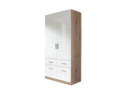 Armoire 2  portes 4 tiroirs Celle chene sonoma/blanc brillant