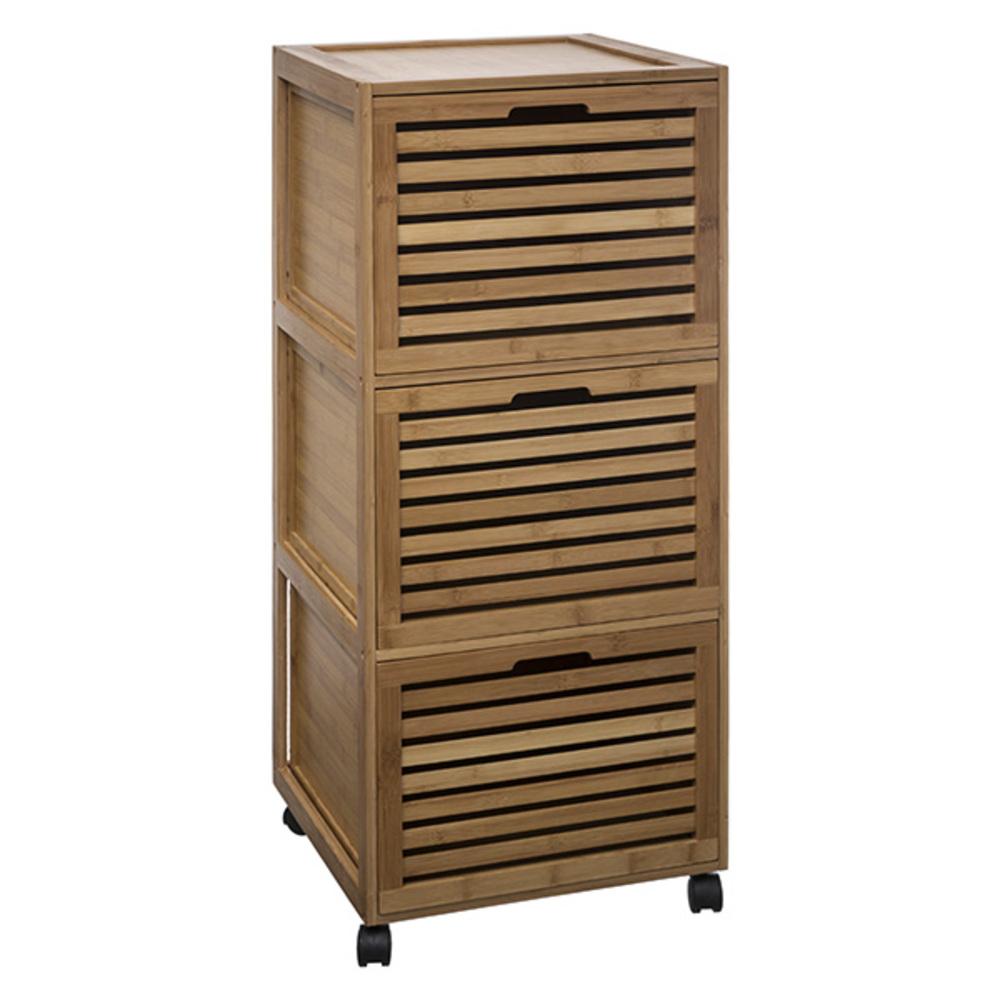 Meuble 3 tiroirs sicela bambou Petit meuble salle de bain bambou