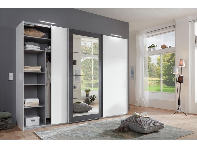 armoire 3 portes coulissantes dont 1 avec miroir minden. Black Bedroom Furniture Sets. Home Design Ideas