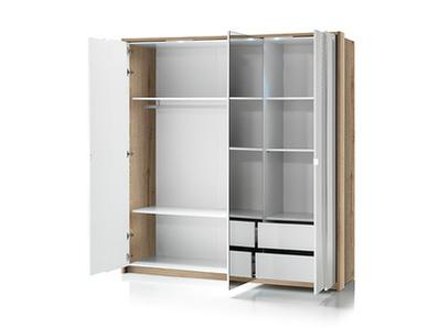 Armoire 3 portes Urbino laqué blanc/chene