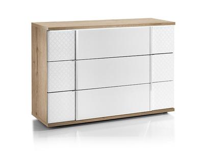 Commode 3 tiroirs Urbino laqué blanc/chene