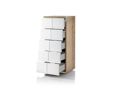 Chiffonnier 5 tiroirs Urbino laqué blanc/chene