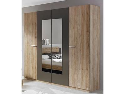 Armoire 4 portes dont 2 miroirs Borba chene sonoma/gris lave