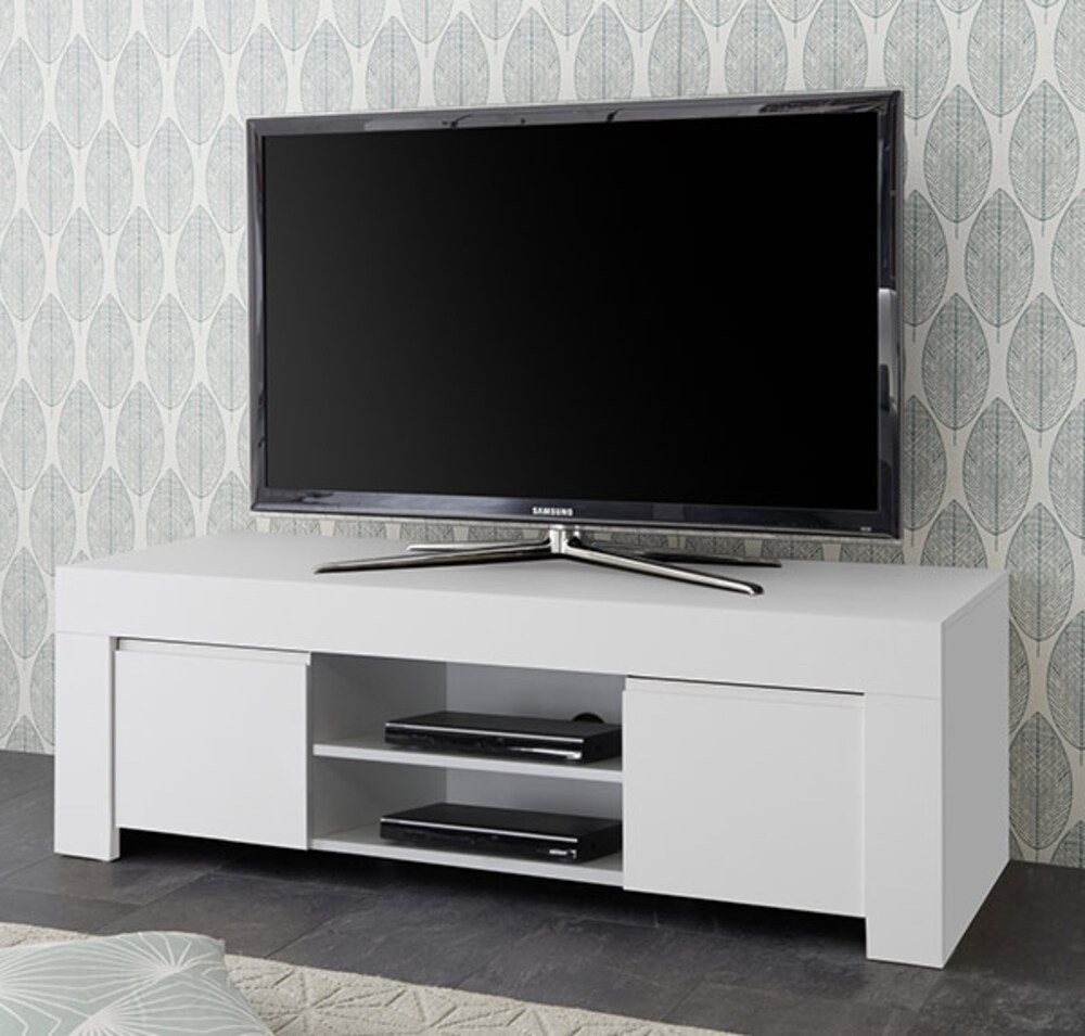 meuble tv rapallo blanc laqu mat