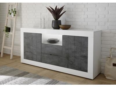 Bahut 2 portes 2 tiroirs Ferrara blanc brillant/oxyde noir