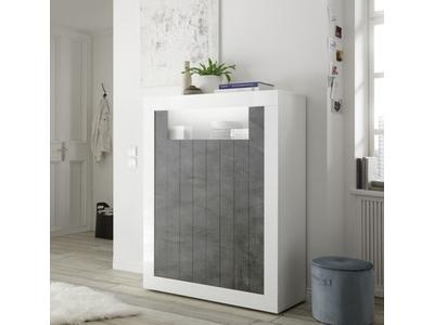 Meuble de rangement Ferrara blanc brillant/oxyde noir