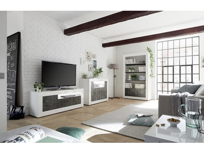Meuble tv 3 portes Ferrara blanc brillant/oxyde noir