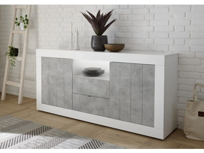 Bahut 2 portes 2 tiroirs Ferrara laqué blanc/béton
