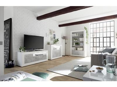 Meuble tv 3 portes Ferrara laqué blanc/béton