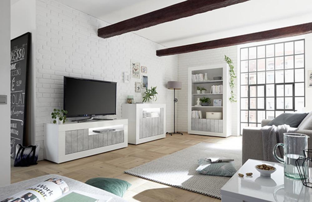 Meuble tv 3 portes ferrara laqu blanc b ton - Meuble tv hifi blanc laque ...