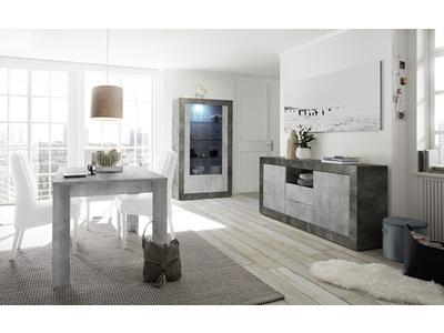 Bahut 2 portes 2 tiroirs Ferrara oxyde noir/béton