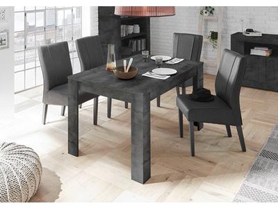 Table de repas extensible Ferrara oxyde noir/béton
