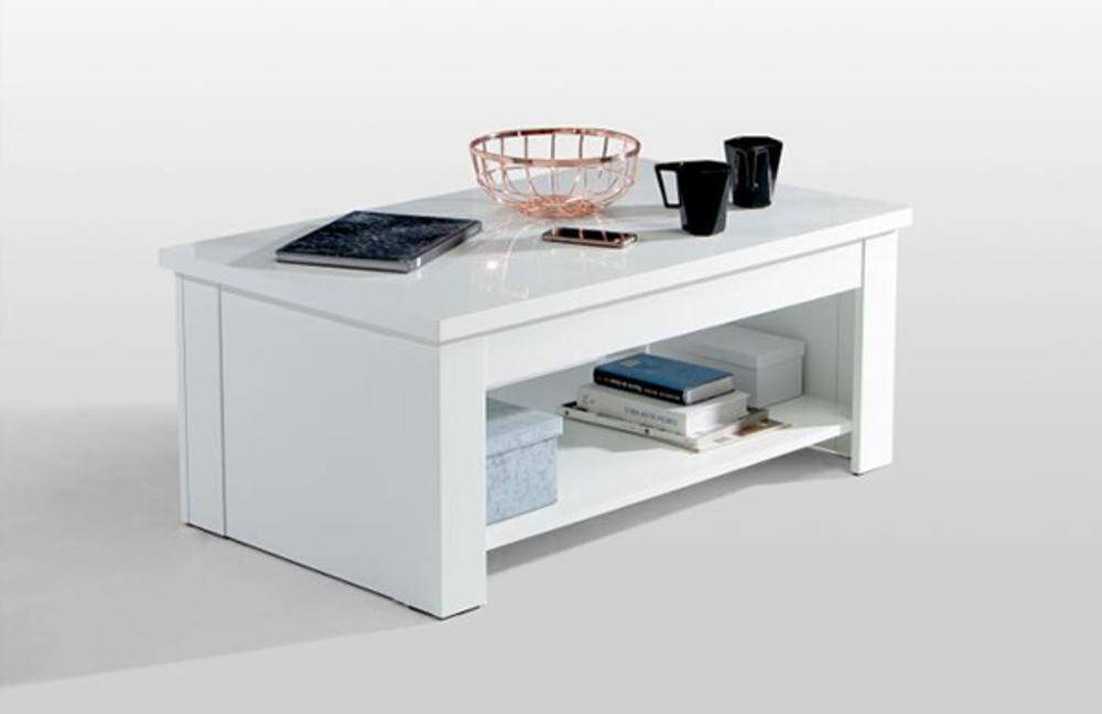 Table Basse Relevable Couchtische Blanc Blanc Brillant