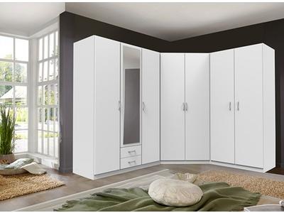 Armoire 3 portes dont 1 miroir + 2 tiroirs Sprint blanc