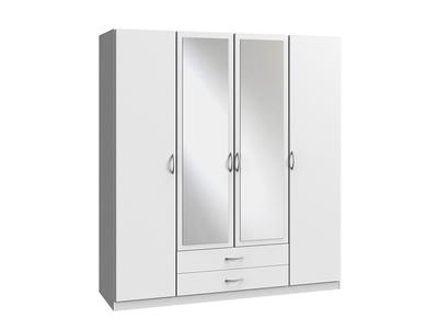 Armoire 4 portes dont 2 miroirs + 2 tiroirs