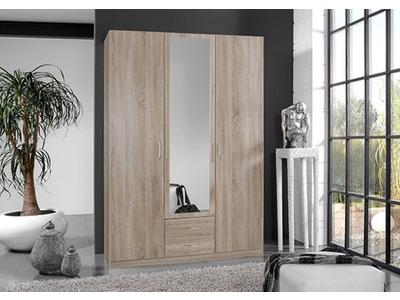 Armoire 3 portes dont 1 miroir + 2 tiroirs Sprint chene