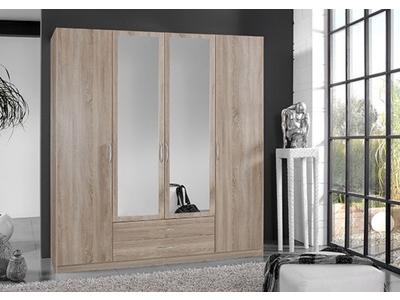 Armoire 4 portes dont 2 miroirs + 2 tiroirs Sprint chene