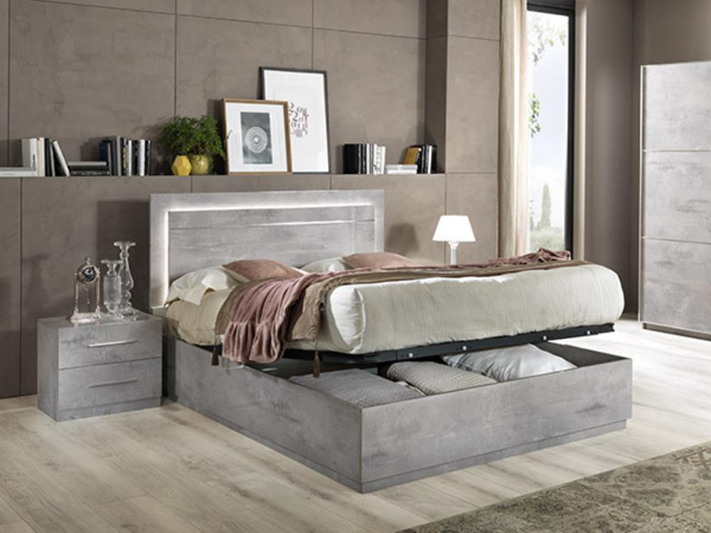 lit avec coffre de rangement star laque beton