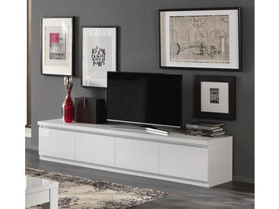 Meuble tv 4 portes Roma laqué blanc