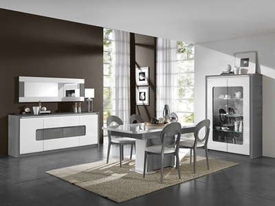 Bahut 2 portes 3 tiroirs Bellini laqué blanc/gris brillant