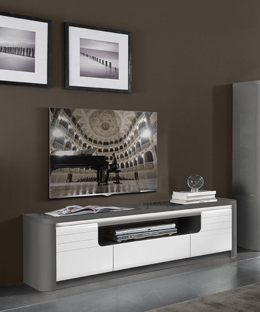 meuble tv bellini laqu blanc gris brillant. Black Bedroom Furniture Sets. Home Design Ideas