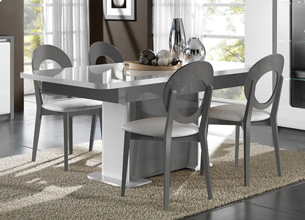 Table De Repas Extensible Bellini Laque Blanc Gris Brillant