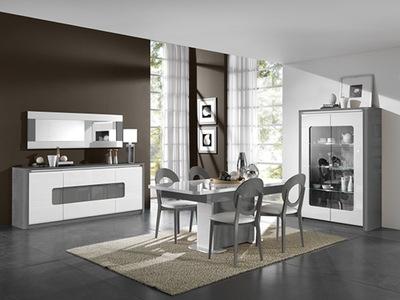 Bahut 4 portes 1 tiroir Bellini laqué blanc/gris brillant